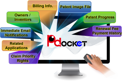 Claim Priority Rights/Related Applications/Immediate Email Notifications/Owners (Inventors)/Billing Info./Patent Image File/Patent Progress/Renewal Fee Payment History